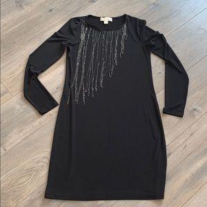 Michael Kors Bodycon Dress w Chain Fringe Neck XS